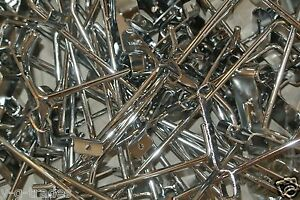 New Lot Of 50 Grid Wall Peg Hooks Silver 2 Hook Perfect For Stores Gridwall