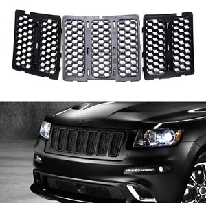 For 14 15 Jeep Grand Cherokee Front Honeycomb Matte Mesh Grille Inserts Cover