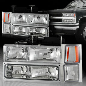 For 1994 1998 Chevy Silverado C10 Clear Lens Headlights Bumper Corner Lamps 8pcs
