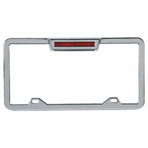 Chrome Aluminum Lighted License Plate Frame With Led 3rd Brake Light Third Chevy