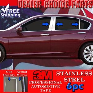 2013 2017 Honda Accord 4dr Sedan 6pc Stainless Steel Pillar Posts Trims Overlays