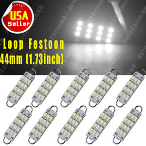10x 6000k White Festoon 44mm 12 Smd Rigid Loop Led Dome Door Interior Light Bulb