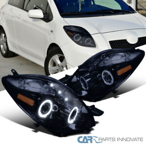 For Toyota 06 08 Yaris 3dr Hatchback Glossy Black Led Halo Projector Headlights