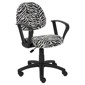 Zebra Print Microfiber Deluxe Posture Chair With Loop Arms Boss Office Prod