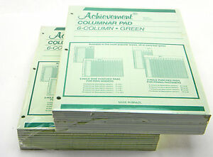 20 Achievement Columnar Analisys Pad 6 Columns 3 Hole 11 x8 1 2 50 Sheets Green