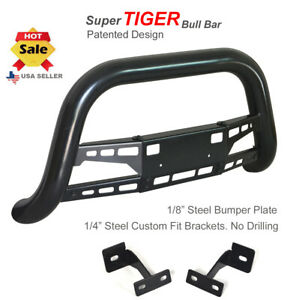 Bull Bar 2007 2010 Ford Edge Hunter Classic Guard Push In Black Stainless Skid