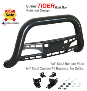 Super Tiger Bull Bar Fits 16 up Toyota Tacoma Black Powdercoated Bumper Guard