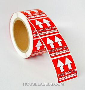 30 Rolls 500 Labels 2x2 2 X 2 Pre printed This Side Up Labels stickers