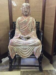 Old Carved Wood Enamel Gesso Seated Buddha Chinese Tibetan 36 Tall X 22 Wide