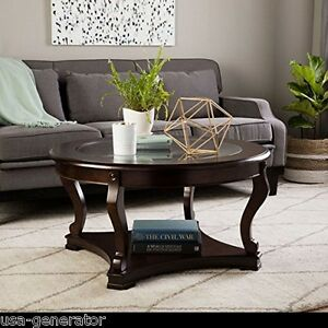 Coffee Table Round Wood Dark Expresso Tempered Glass Top Living Room Furniture