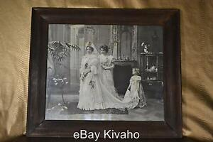 Antique Early Wood Frame Large Victorian 1900 Wedding Dress Photo Print Girl Ny