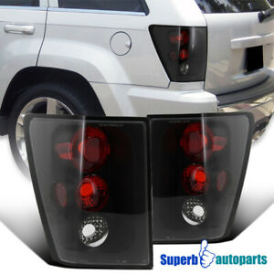 For 2005 2006 Jeep Grand Cherokee Replacement Tail Lights Brake Lamps Black