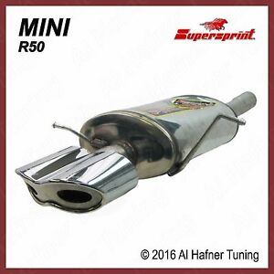 Mini Cooper R50 02 06 Supersprint Muffler With Viper Tips 2 Pieces