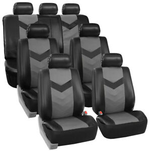 3 Row Car Seat Covers Leather 7 Seater Suv Van Set Gray