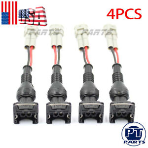 4x Ev1 Female To Denso Male Fuel Injector Connector Electrical Plug Clip Adapter