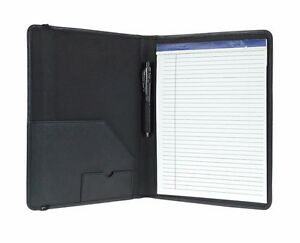 Genuine Leather Large Business Meeting Folder Bifold Organizer Black Or Brown