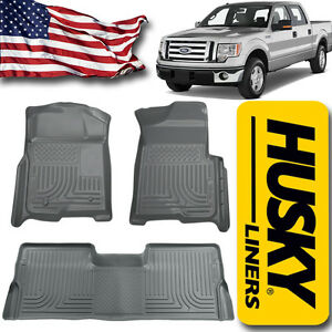 Floor Liners 2009 2014 Ford F 150 Supercrew Cab Husky Mat Set Gray 98332