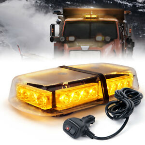 Xprite Vehicle Rooftop 24 Led Emergency Warning Mini Strobe Light Bar Yellow