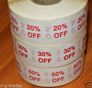 Lot Of 3000 Self adhesive 20 30 50 Off Labels 3 4 Stickers Tags Discount