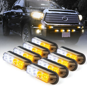 8pc 4 Led Side Marker Grille Emergency Strobe Flash Light Pods Set White Amber