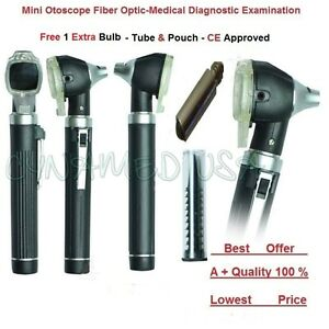 New Fiber Otoscope Examination Led Diagnostic Ent Set Kit black ce 1 Free Bulb