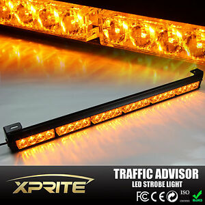 27 24 Led Emergency Warning Light Bar Traffic Hazard Strobe Amber Yellow