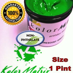 Super Opaque Fluorescent Green Plastisol Screenprint Ink Non Phthalate Pint