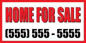 3 x6 Home For Sale Custom Number Sign Vinyl Banner House Condo Apartment