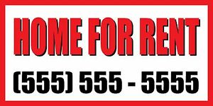 3 x6 Home For Rent Custom Number Sign Vinyl Banner House Condo Apartment