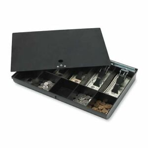 Sparco Products Money Tray W Locking Cover 16 x11 x2 1 4 Black
