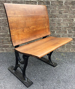 Antique Vintage Wrought Iron Wood Student School Desk Chair Fold Down Seat