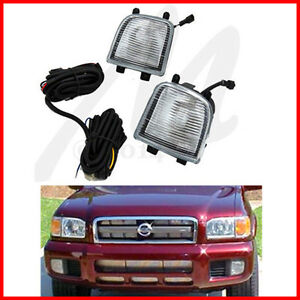 For 00 04 Pathfinder Bumper Fog Lights Driving Lamps Assembly Kit Oe Harness