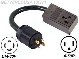 Welder 3 prong 6 50r Receptacle 4 pin L14 30p Plug Generator Power Cord Adapter