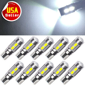 10x Hid White Canbus T10 10 Smd Led Interior Plate Light Bulbs W5w 192 921 2825