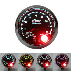 12v Car Vehicle 3 75 Inch Tachometer Tacho Gauge With Shift Light 0 8000rpm Us