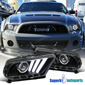 For 2010 2014 Black Mustang Projector Headlights Hi Tech Look Sequential Led