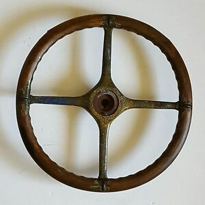 Vintage Wooden 20 Steering Wheel 102 B Military Jeep Truck Tractor Keyway Wood