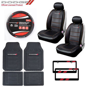 11pc Dodge Car Truck Suv All Weather Floor Mats Seat Covers Steering Wheel Cover