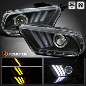 2010 2014 Ford Mustang Sequential Led Bar Projector Headlights Black