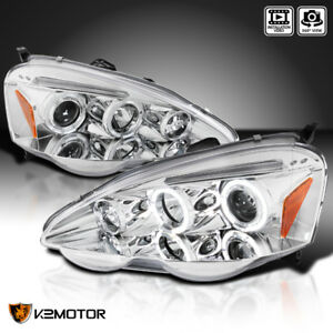 For 2002 2004 Acura Rsx Clear Led Halo Rims Projector Headlights Lamps L R 02 04