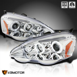 For 2002 2004 Acura Rsx Clear Led Dual Halo Rims Projector Headlights Left right
