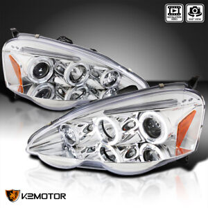 Fit 2002 2004 Acura Rsx Crystal Clear Dual Halo Projector Headlights Left Right