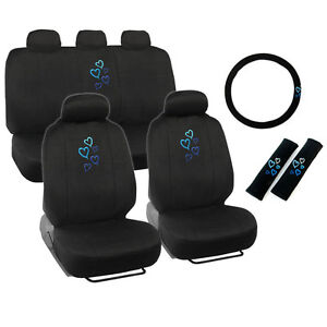 New Blue Hearts Car Front Back Full Seat Covers Steering Wheel Cover Set