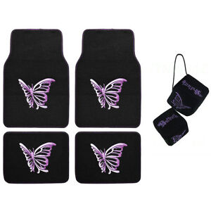 New Purple Butterfly Car Truck Front Rear Carpet Floor Mats Hanging Dice