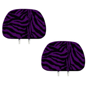 New 2pc Purple Zebra Tiger Print Headrest Covers Match Seat Covers Floor Mats