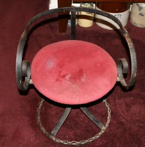 Vintage Wrought Iron Swivel Desk Chair W Red Carpet Seat Medieval Gothic Chair