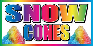 3 x6 Snow Cones Vinyl Banner Concession Stand Food Sign Shaved Ice Balls