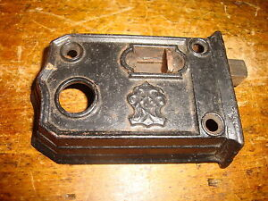 Door Latch Dead Bolt Slide Strike Cast Iron Antique Vintage Black