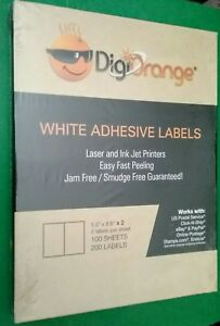 400 Digiorange Adhesive Shipping Labels 2 Per Sheet 5 5 X 8 5