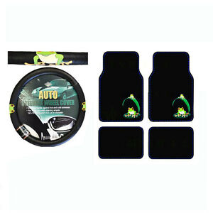 New 5pcs Set Green Tree Frog Universal Fit Steering Wheel Cover